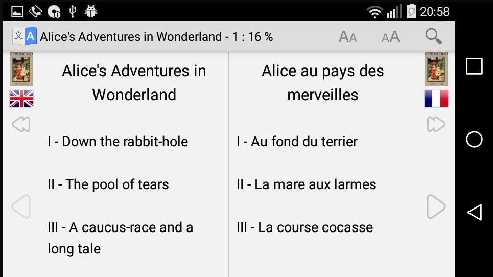 Bilingual book reading with an Android app